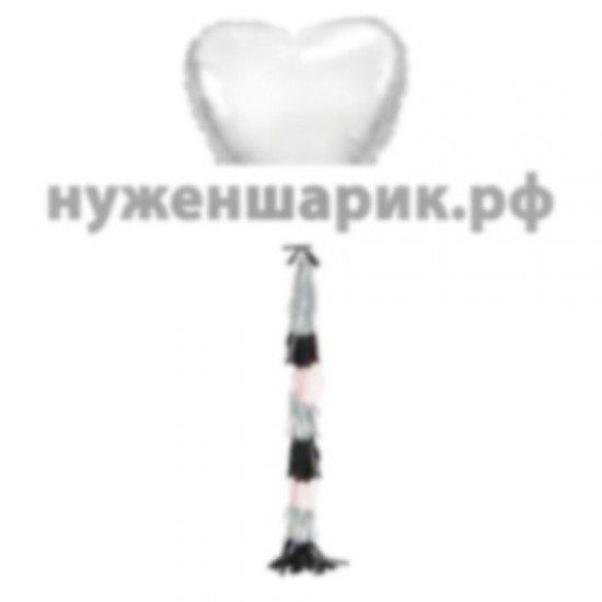 Сердце из фольги с гирляндой тассел Серебро, 81 см