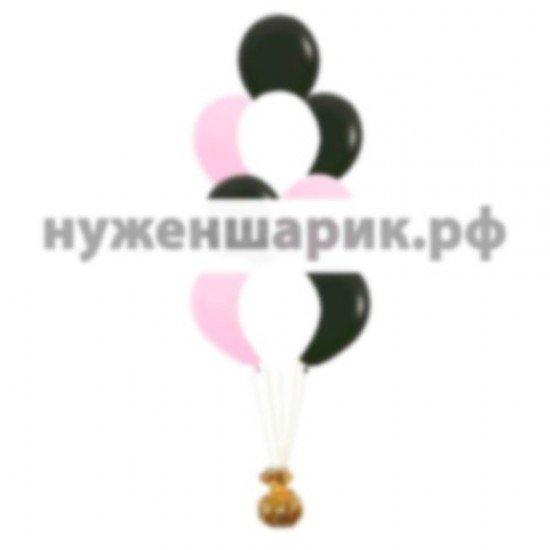 Фонтан из Белых, Розовых и Черных воздушных шаров