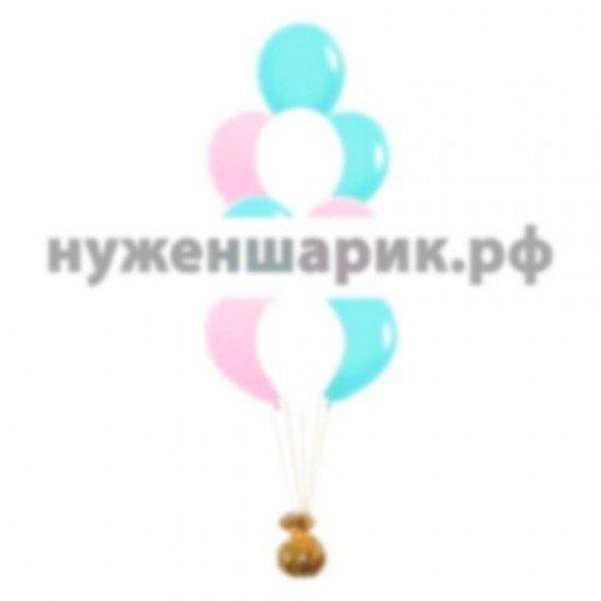 Фонтан из Розовых, Тиффани и Белых воздушных шаров