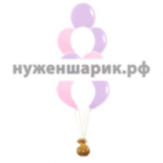 Фонтан из Розовых, Белых и Сиреневых воздушных шаров