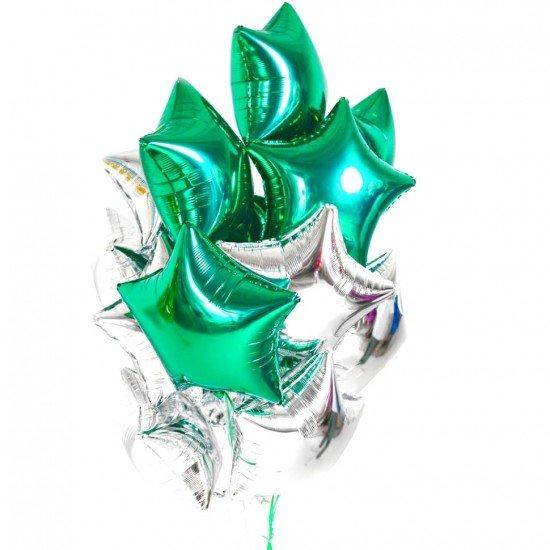 Облако из фольгированных звезд, зеленые-серебро
