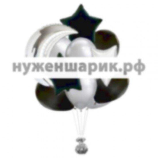 Связка из воздушных шаров Серебряный Полумесяц