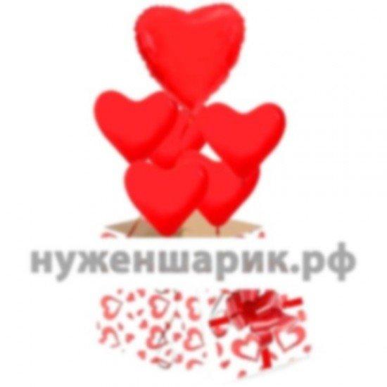 Коробка сюрприз с воздушными шарами Красные сердца