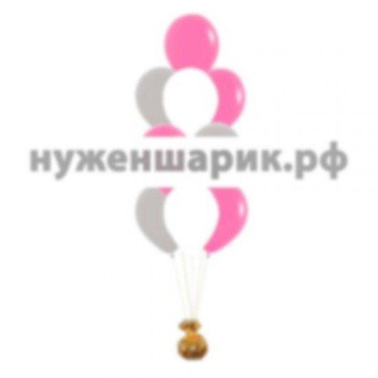 Фонтан из Серебристых, Белых и Фуше воздушных шаров