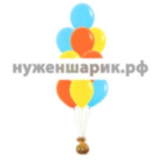 Фонтан из Желтых, Голубых и Оранжевых воздушных шаров