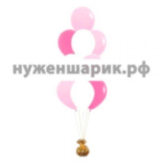 Фонтан из Розовых, Белых и Фуше воздушных шаров