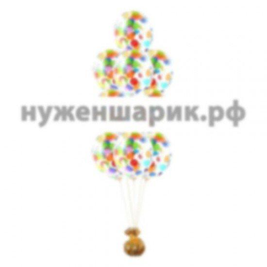 Фонтан из Прозрачных воздушных шаров с Конфетти Ассорти