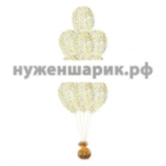 Фонтан из Прозрачных воздушных шаров с Конфетти Золото