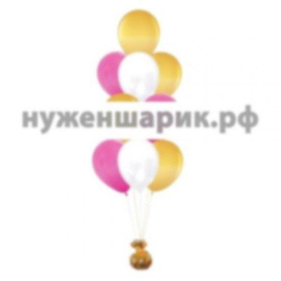 Фонтан из Золотых, Розовых и Белых воздушных шаров