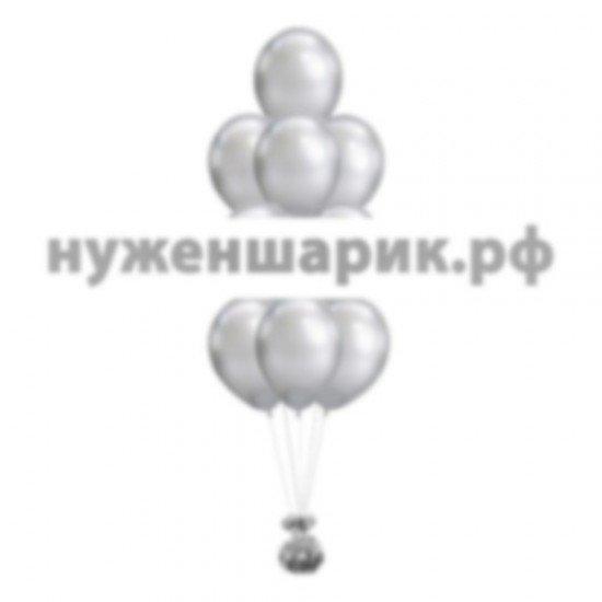 Фонтан из Серебристых воздушных шаров Металлик