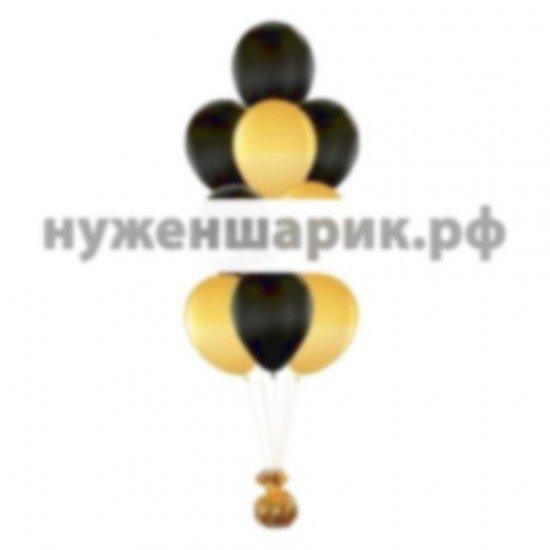 Фонтан из Золотых и Черных воздушных шаров Металлик