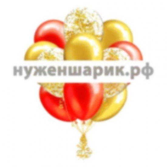 Облако Золотых, Красных и Прозрачных воздушных шаров с Конфетти