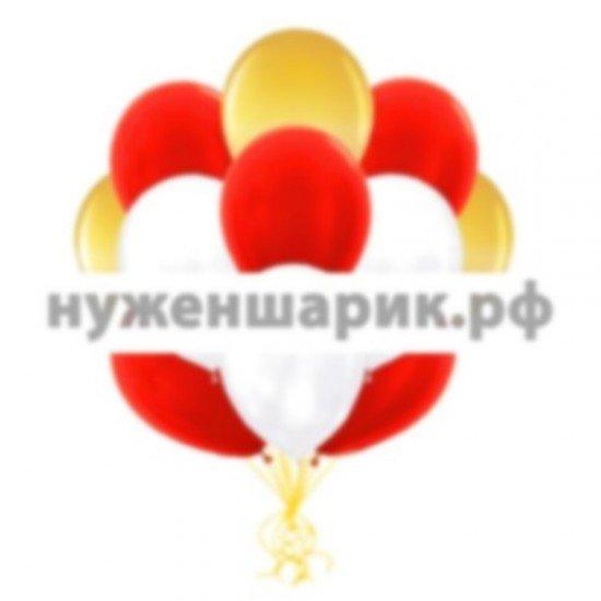 Облако Золотых, Белых и Красных воздушных шаров Металлик