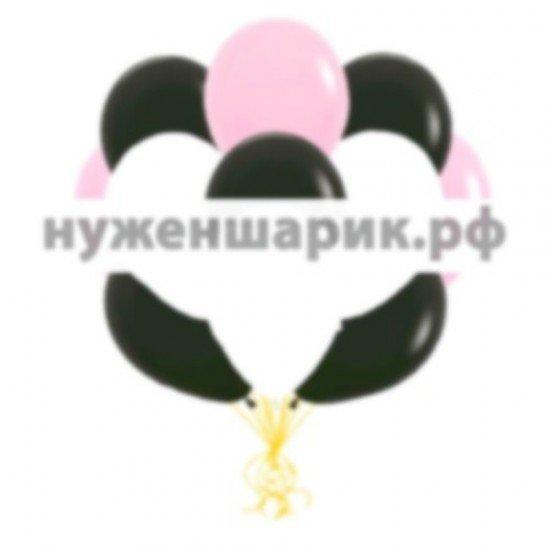 Облако Розовых, Белых и Черных воздушных шаров