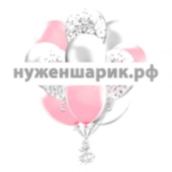 Облако Розовых, Серебристых и Прозрачных воздушных шаров с Конфетти
