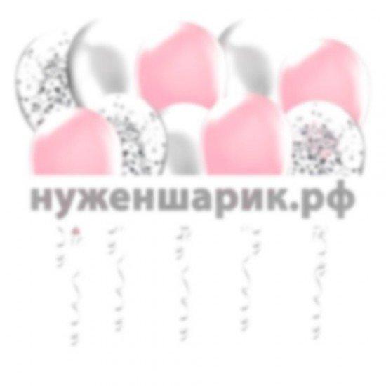 Шары под потолок Розовые, Серебристые, Прозрачные с Конфетти
