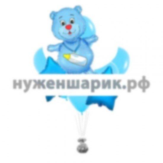Связка из воздушных шаров с мишкой К рождению малыша