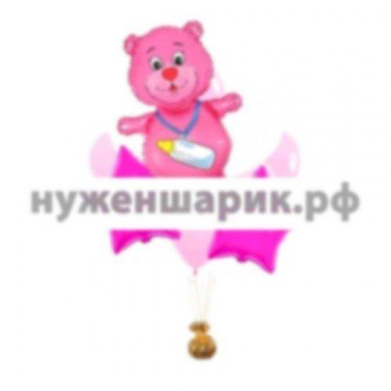 Связка из воздушных шаров К рождению девочки с розовым мишкой