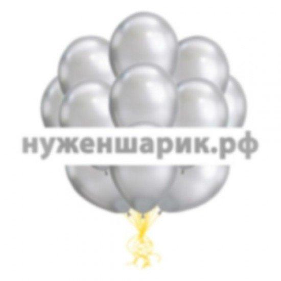 Облако Серебряных воздушных шаров Металлик