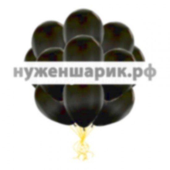 Облако Черных воздушных шаров Металлик