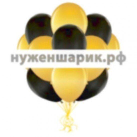 Облако Золотых и Черных воздушных шаров Металлик