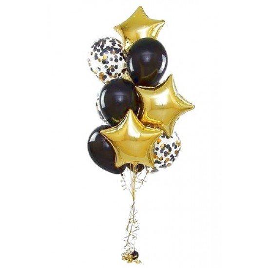 Фонтан из 7 воздушных шаров с золотыми звездами