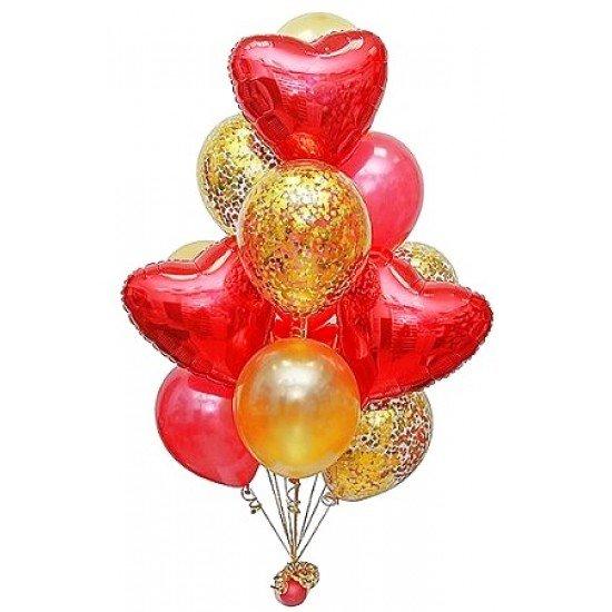 Фонтан из 15 воздушных шаров с фольгированными сердцами
