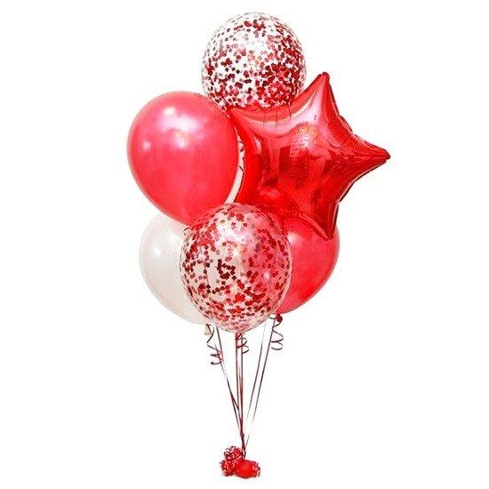 Фонтан из 7 воздушных шаров со звездой из фольги
