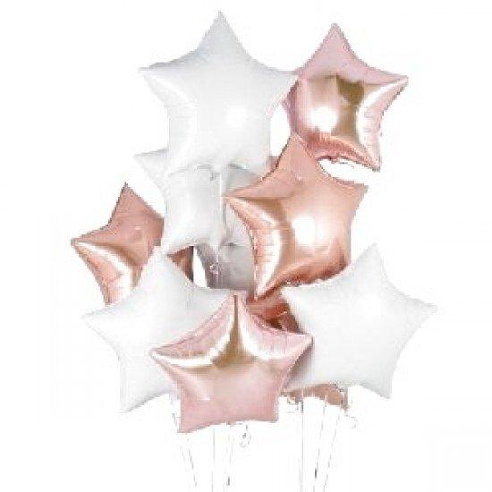 Облако из фольгированных звезд, розовое золото-белые