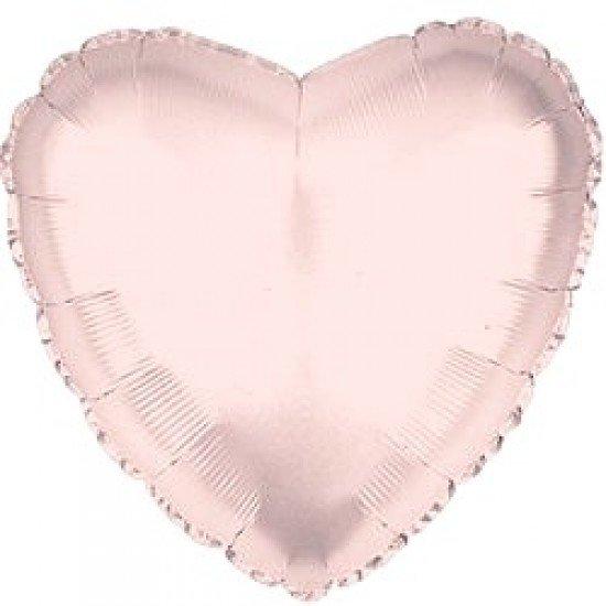 Шар из фольги, Сердце, Розовое золото, 46 см