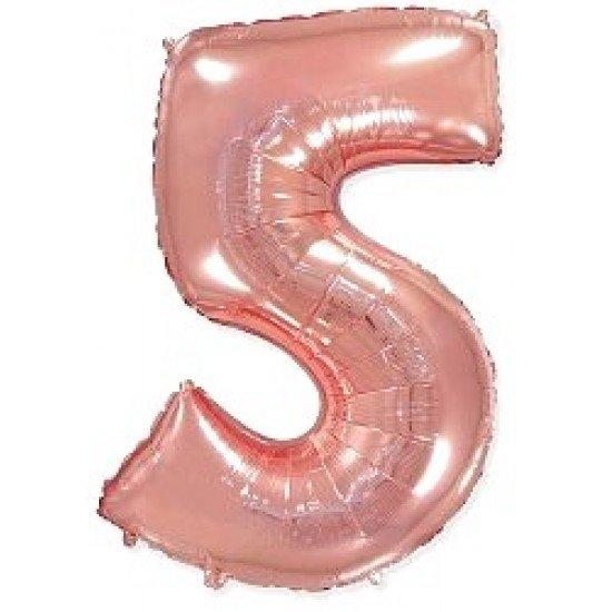 """Шар """"Цифра 5"""" Розовое золото, 102 см"""
