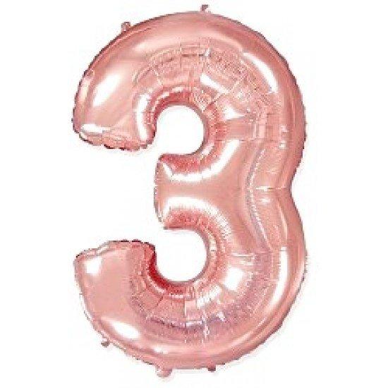 """Шар """"Цифра 3"""" Розовое золото, 102 см"""