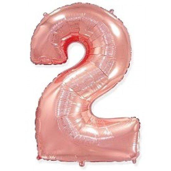 """Шар """"Цифра 2"""" Розовое золото, 102 см"""