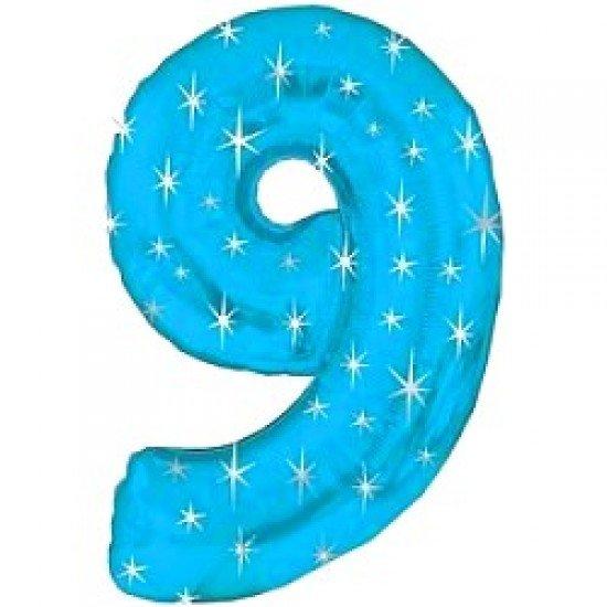 "Шар ""Цифра 9"" Синяя со звездами, 102 см"
