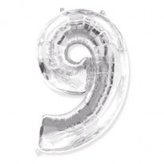 """Шар """"Цифра 9"""" Серебро, 102 см"""