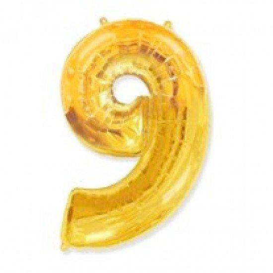 """Шар """"Цифра 9"""" Золото, 102 см"""