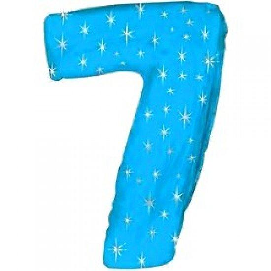 "Шар ""Цифра 7"" Синяя со звездами, 102 см"