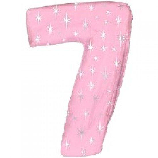 """Шар """"Цифра 7"""" Розовая со звездами, 102 см"""