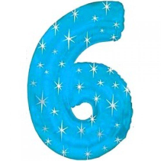 "Шар ""Цифра 6"" Синяя со звездами, 102 см"