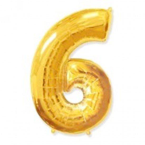 """Шар """"Цифра 6"""" Золото, 102 см"""