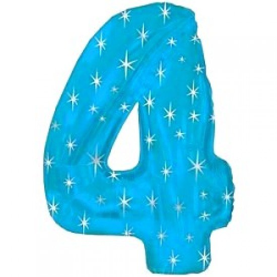 "Шар ""Цифра 4"" Синяя со звездами, 102 см"