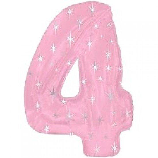 """Шар """"Цифра 4"""" Розовая со звездами, 102 см"""