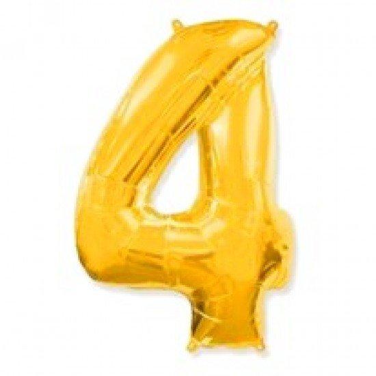"""Шар """"Цифра 4"""" Золото, 102 см"""