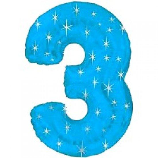 "Шар ""Цифра 3"" Синяя со звездами, 102 см"