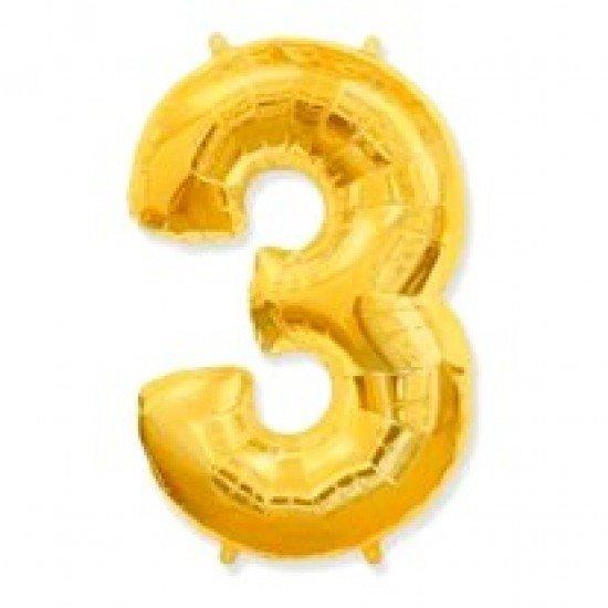 """Шар """"Цифра 3"""" Золото, 102 см"""