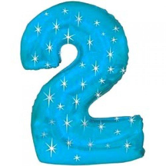 "Шар ""Цифра 2"" Синяя со звездами, 102 см"