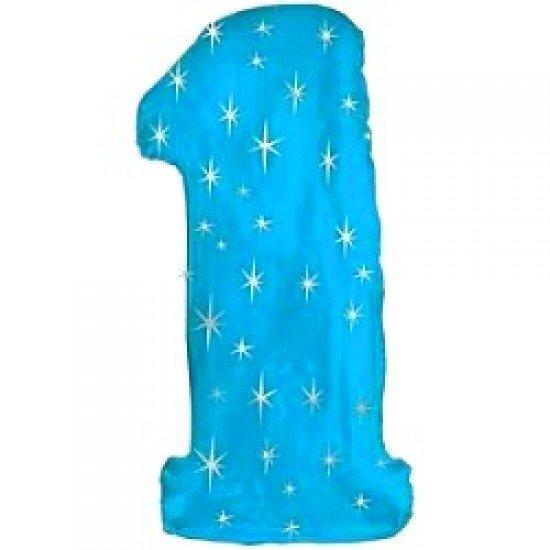 "Шар ""Цифра 1"" Синяя со звездами, 102 см"