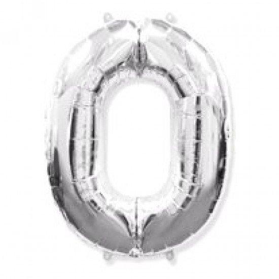 """Шар """"Цифра 0"""" Серебро, 102 см"""