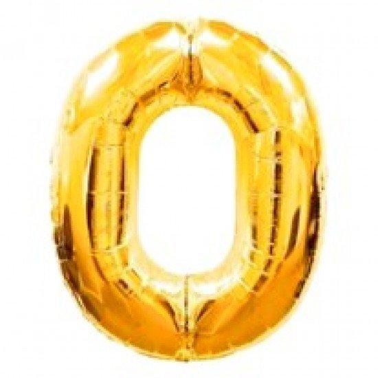 """Шар """"Цифра 0"""" Золото, 102 см"""