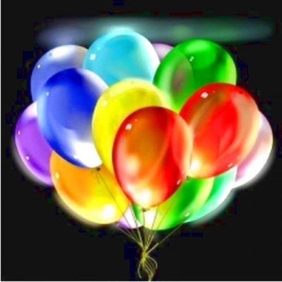 Облако воздушных шаров Металлик ассорти с мигающими разноцветными светодиодами